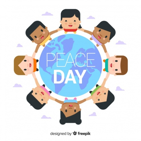 peace-day-background-with-flat-kids-around-earth_freepik